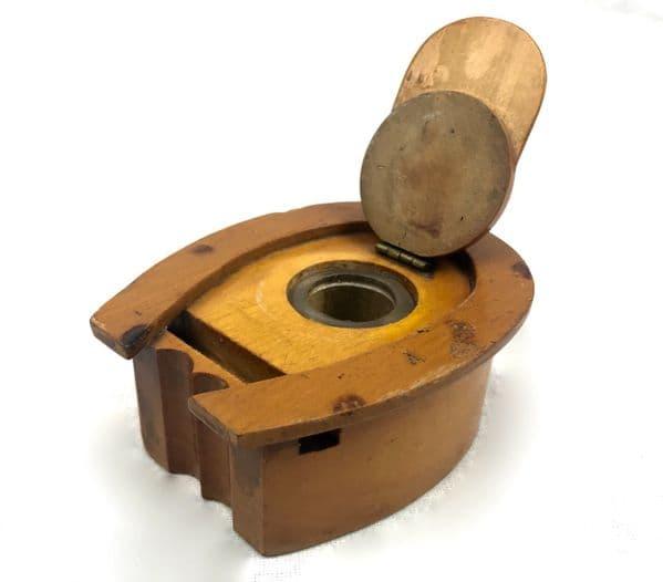 Antique Mauchline Ware Wooden Inkwell Jockey Cap and Horseshoe Shape